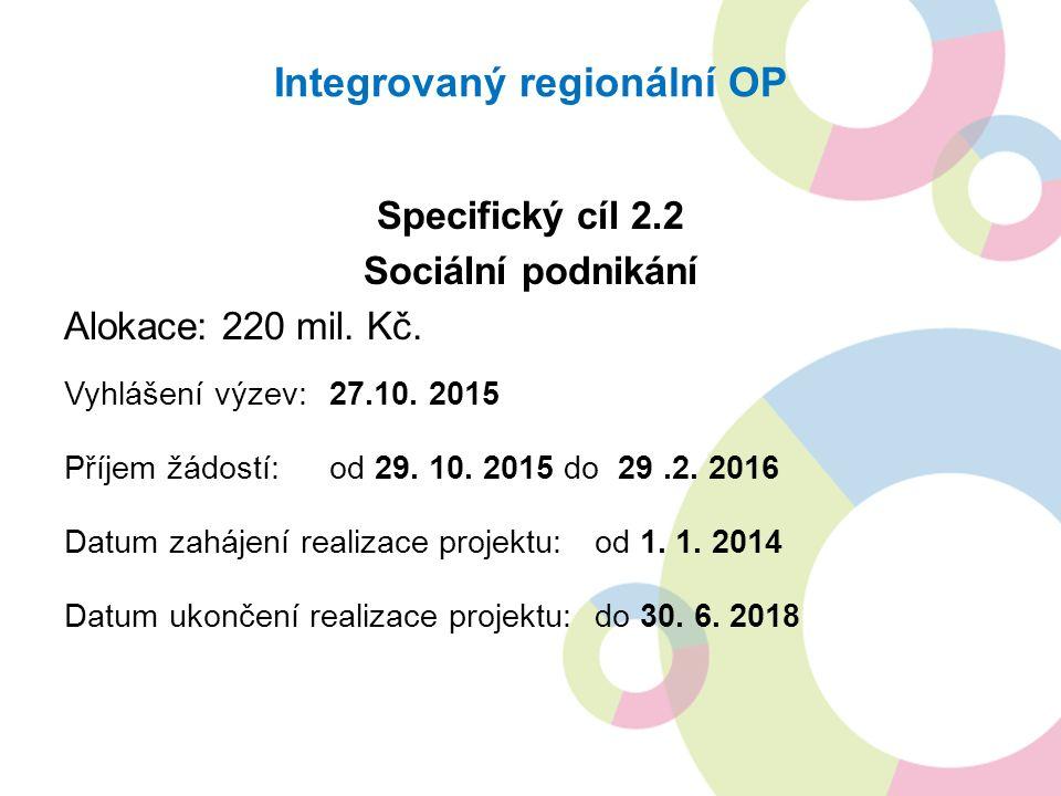 Integrovaný regionální OP Specifický cíl 2.2 Sociální podnikání Alokace: 220 mil.