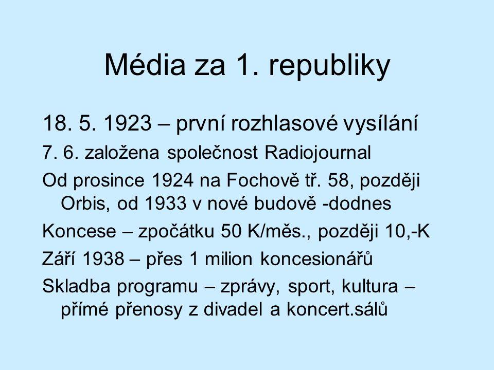 Média za 1. republiky 18. 5. 1923 – první rozhlasové vysílání 7.