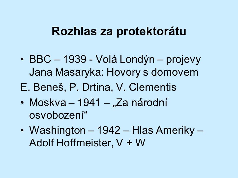 Rozhlas za protektorátu BBC – 1939 - Volá Londýn – projevy Jana Masaryka: Hovory s domovem E.