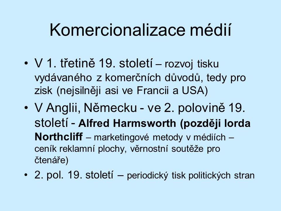 Komercionalizace médií V 1. třetině 19.