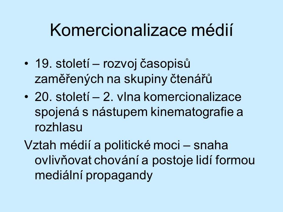 Specifika ve vývoji českých médií Komercializace médií do poč.