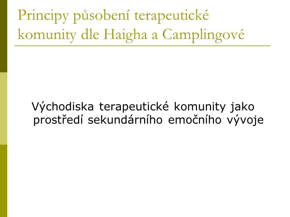 Principy působení terapeutické komunity dle Haigha a Camplingové Východiska terapeutické komunity jako prostředí sekundárního emočního vývoje