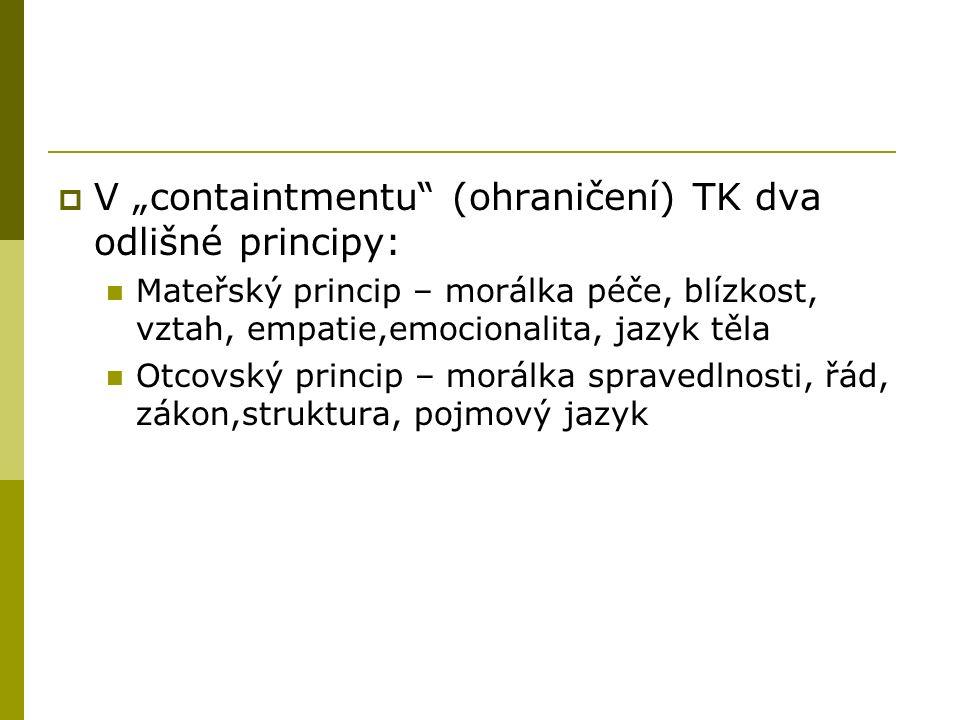 """ V """"containtmentu (ohraničení) TK dva odlišné principy: Mateřský princip – morálka péče, blízkost, vztah, empatie,emocionalita, jazyk těla Otcovský princip – morálka spravedlnosti, řád, zákon,struktura, pojmový jazyk"""