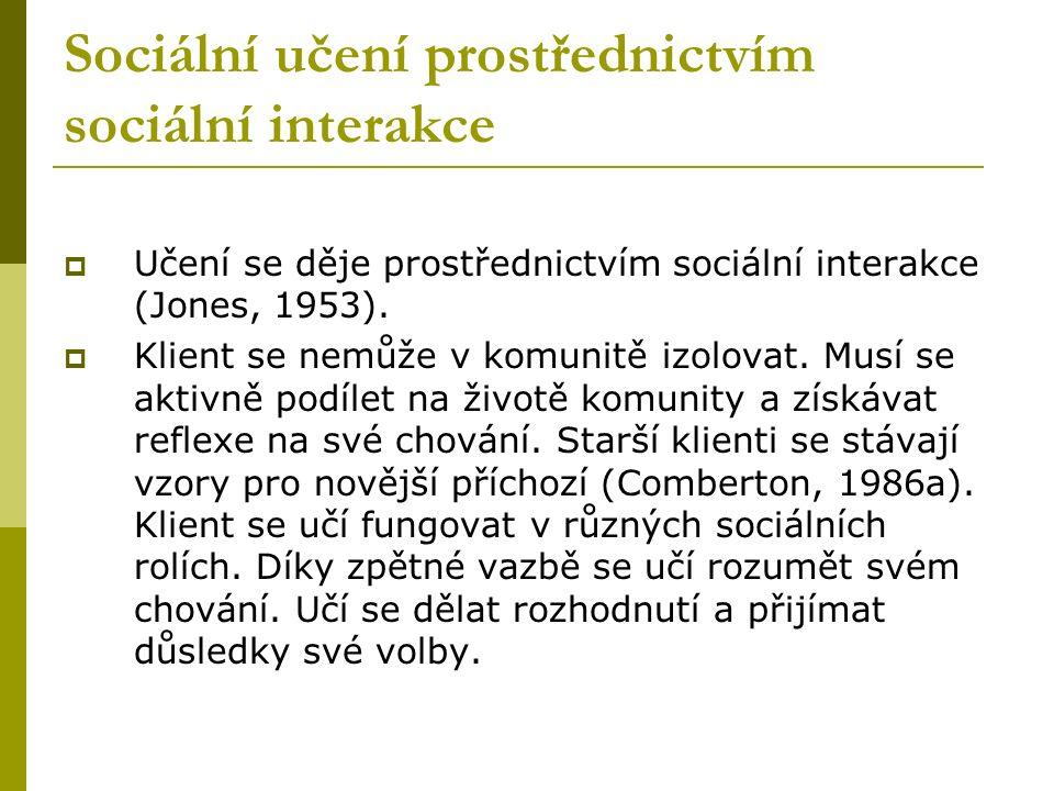 Sociální učení prostřednictvím sociální interakce  Učení se děje prostřednictvím sociální interakce (Jones, 1953).