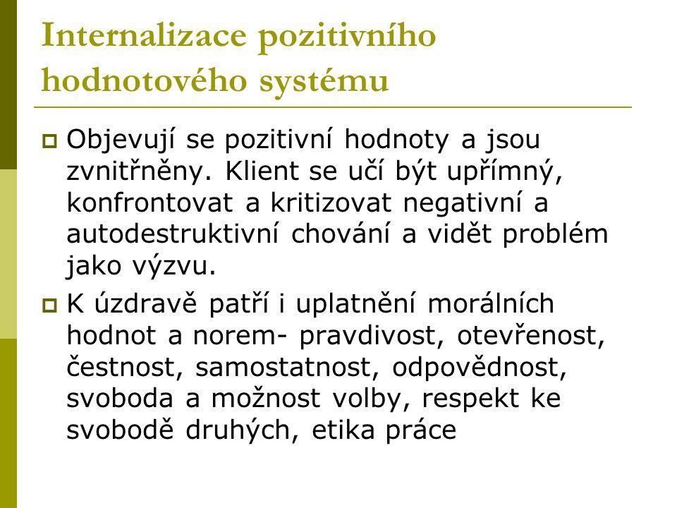 Internalizace pozitivního hodnotového systému  Objevují se pozitivní hodnoty a jsou zvnitřněny.