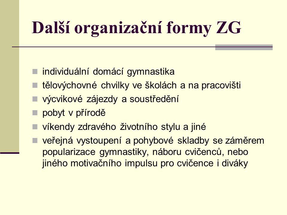 Další organizační formy ZG individuální domácí gymnastika tělovýchovné chvilky ve školách a na pracovišti výcvikové zájezdy a soustředění pobyt v přírodě víkendy zdravého životního stylu a jiné veřejná vystoupení a pohybové skladby se záměrem popularizace gymnastiky, náboru cvičenců, nebo jiného motivačního impulsu pro cvičence i diváky