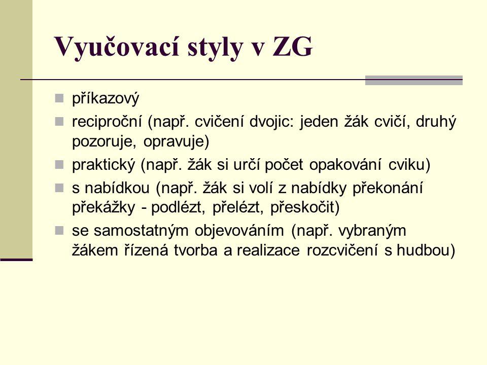 Vyučovací styly v ZG příkazový reciproční (např.