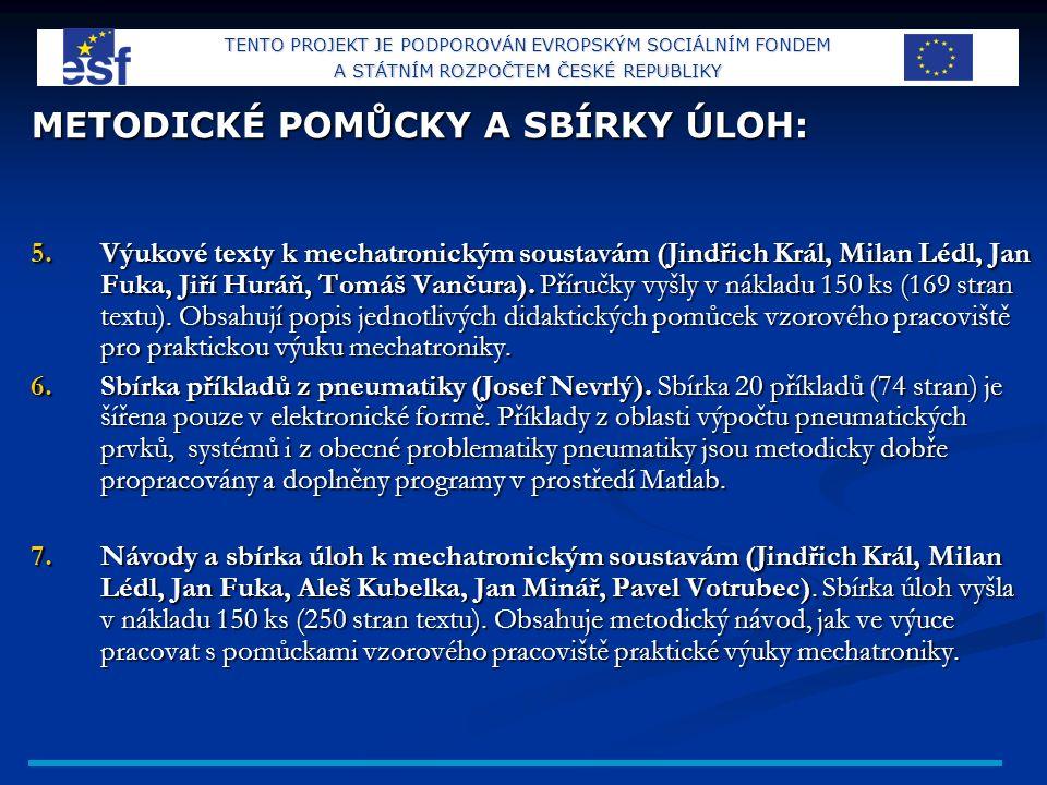 METODICKÉ POMŮCKY A SBÍRKY ÚLOH: 5.Výukové texty k mechatronickým soustavám (Jindřich Král, Milan Lédl, Jan Fuka, Jiří Huráň, Tomáš Vančura).