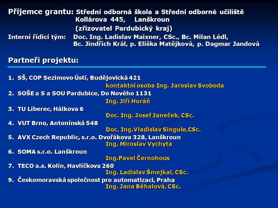 Příjemce grantu: Střední odborná škola a Střední odborné učiliště Kollárova 445, Lanškroun (zřizovatel Pardubický kraj) (zřizovatel Pardubický kraj) Interní řídicí tým:Doc.