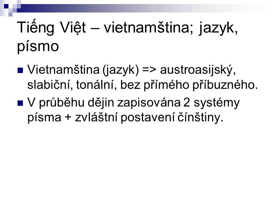 Tiếng Việt – vietnamština; jazyk, písmo Vietnamština (jazyk) => austroasijský, slabiční, tonální, bez přímého příbuzného.