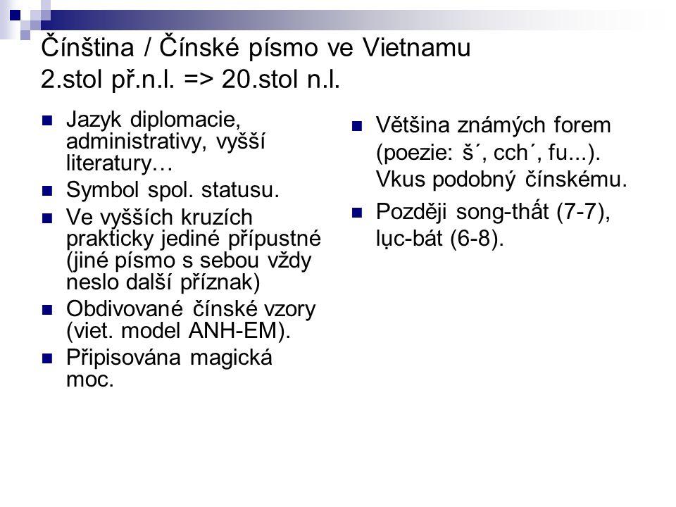 Vietnamská literatura v čínštině poezie: buddh.básně Ly-Tran, autorské sbírky konf.