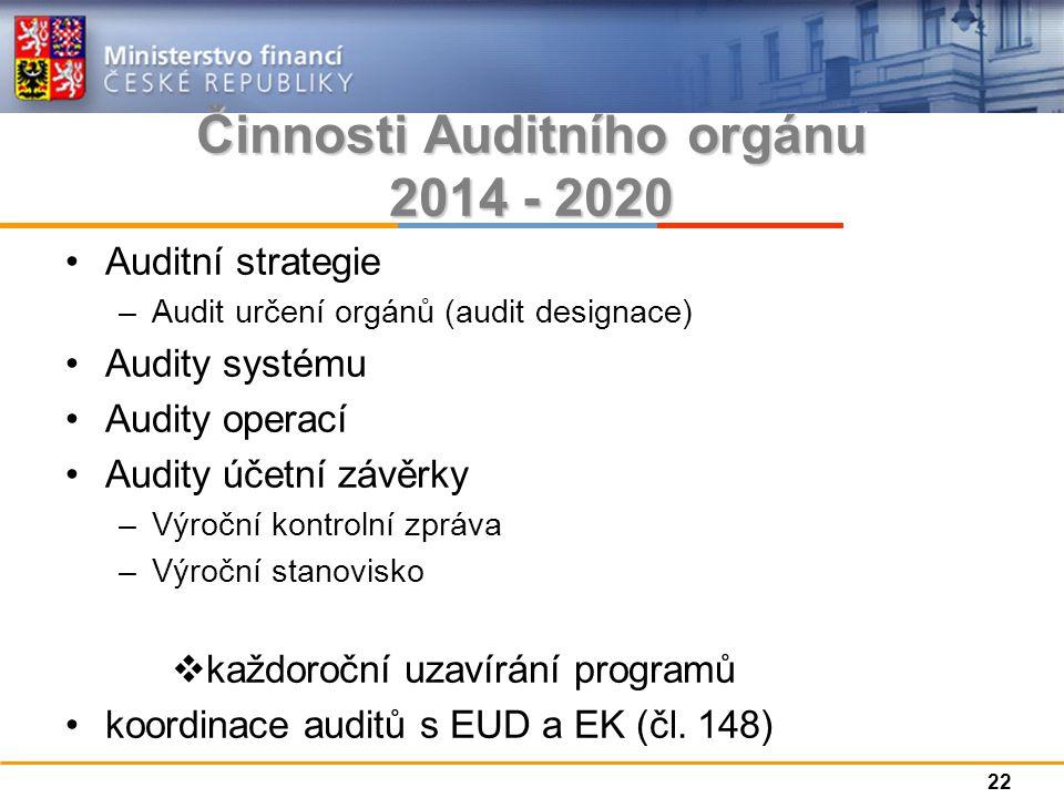 Činnosti Auditního orgánu 2014 - 2020 Auditní strategie –Audit určení orgánů (audit designace) Audity systému Audity operací Audity účetní závěrky –Výroční kontrolní zpráva –Výroční stanovisko  každoroční uzavírání programů koordinace auditů s EUD a EK (čl.