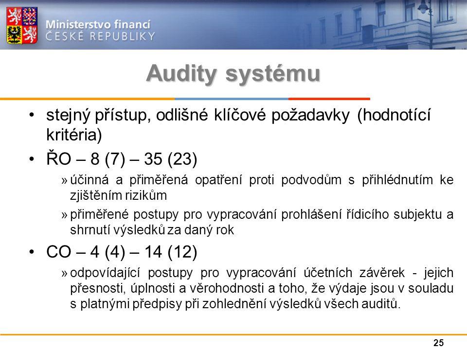 Audity systému stejný přístup, odlišné klíčové požadavky (hodnotící kritéria) ŘO – 8 (7) – 35 (23) »účinná a přiměřená opatření proti podvodům s přihlédnutím ke zjištěním rizikům »přiměřené postupy pro vypracování prohlášení řídicího subjektu a shrnutí výsledků za daný rok CO – 4 (4) – 14 (12) »odpovídající postupy pro vypracování účetních závěrek - jejich přesnosti, úplnosti a věrohodnosti a toho, že výdaje jsou v souladu s platnými předpisy při zohlednění výsledků všech auditů.