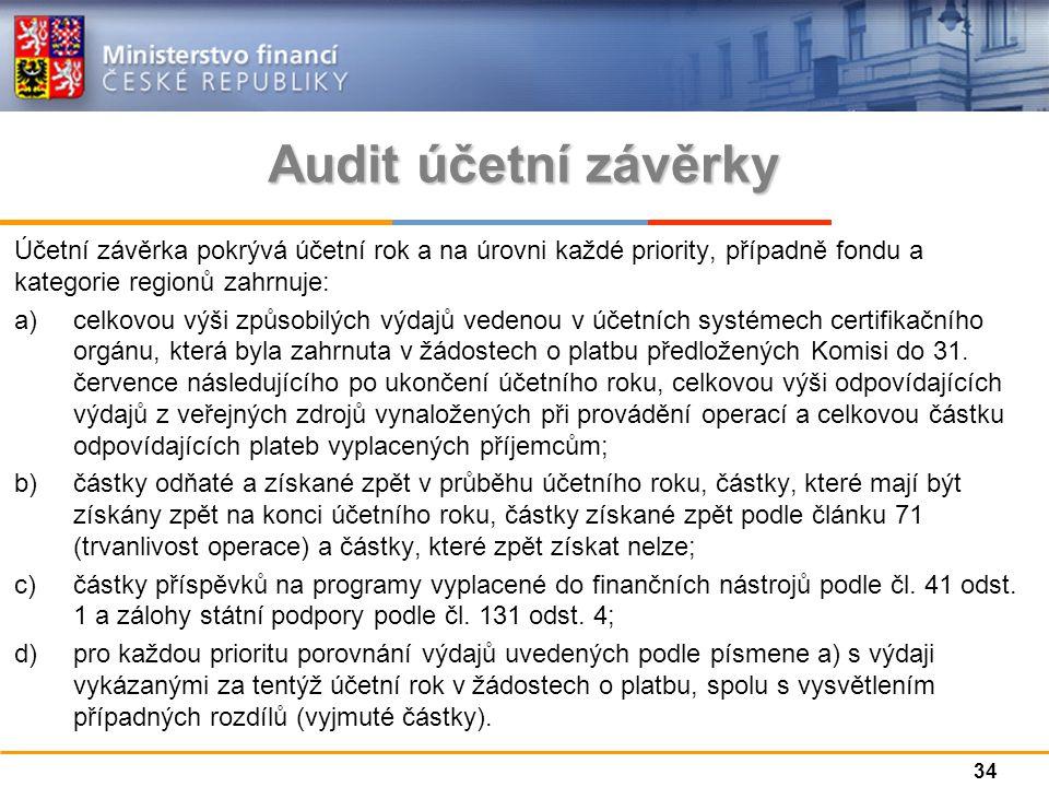 Audit účetní závěrky Účetní závěrka pokrývá účetní rok a na úrovni každé priority, případně fondu a kategorie regionů zahrnuje: a)celkovou výši způsobilých výdajů vedenou v účetních systémech certifikačního orgánu, která byla zahrnuta v žádostech o platbu předložených Komisi do 31.
