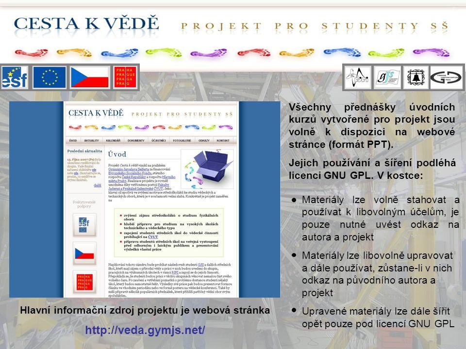 Všechny přednášky úvodních kurzů vytvořené pro projekt jsou volně k dispozici na webové stránce (formát PPT). Jejich používání a šíření podléhá licenc