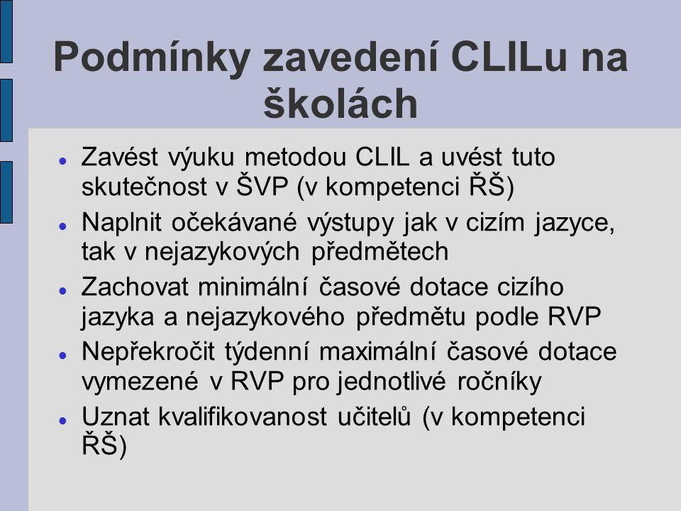Podmínky zavedení CLILu na školách Zavést výuku metodou CLIL a uvést tuto skutečnost v ŠVP (v kompetenci ŘŠ) Naplnit očekávané výstupy jak v cizím jazyce, tak v nejazykových předmětech Zachovat minimální časové dotace cizího jazyka a nejazykového předmětu podle RVP Nepřekročit týdenní maximální časové dotace vymezené v RVP pro jednotlivé ročníky Uznat kvalifikovanost učitelů (v kompetenci ŘŠ)