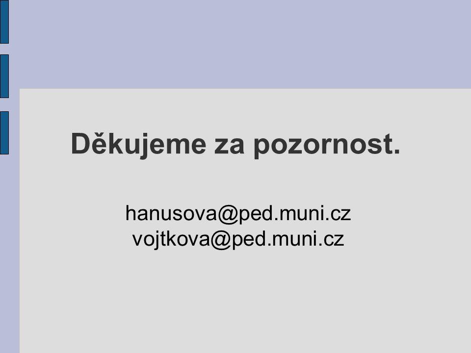 Děkujeme za pozornost. hanusova@ped.muni.cz vojtkova@ped.muni.cz