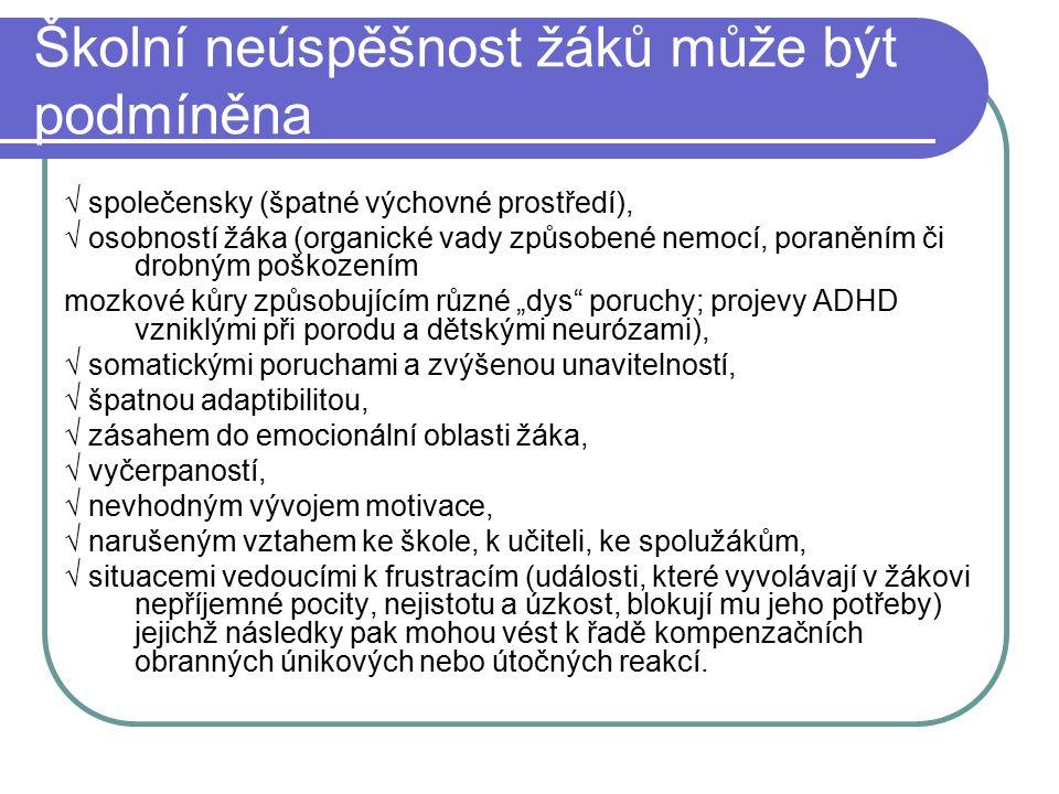 """Školní neúspěšnost žáků může být podmíněna √ společensky (špatné výchovné prostředí), √ osobností žáka (organické vady způsobené nemocí, poraněním či drobným poškozením mozkové kůry způsobujícím různé """"dys poruchy; projevy ADHD vzniklými při porodu a dětskými neurózami), √ somatickými poruchami a zvýšenou unavitelností, √ špatnou adaptibilitou, √ zásahem do emocionální oblasti žáka, √ vyčerpaností, √ nevhodným vývojem motivace, √ narušeným vztahem ke škole, k učiteli, ke spolužákům, √ situacemi vedoucími k frustracím (události, které vyvolávají v žákovi nepříjemné pocity, nejistotu a úzkost, blokují mu jeho potřeby) jejichž následky pak mohou vést k řadě kompenzačních obranných únikových nebo útočných reakcí."""