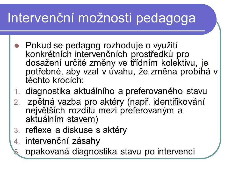 Intervenční možnosti pedagoga Pokud se pedagog rozhoduje o využití konkrétních intervenčních prostředků pro dosažení určité změny ve třídním kolektivu, je potřebné, aby vzal v úvahu, že změna probíhá v těchto krocích: 1.