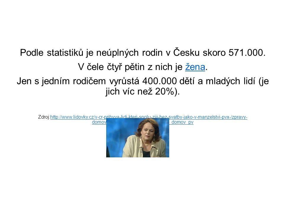Podle statistiků je neúplných rodin v Česku skoro 571.000.