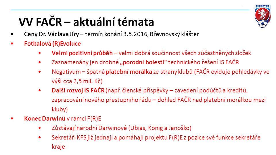 VV FAČR – aktuální témata Ceny Dr. Václava Jíry – termín konání 3.5.2016, Břevnovský klášter Fotbalová (R)Evoluce Velmi pozitivní průběh – velmi dobrá