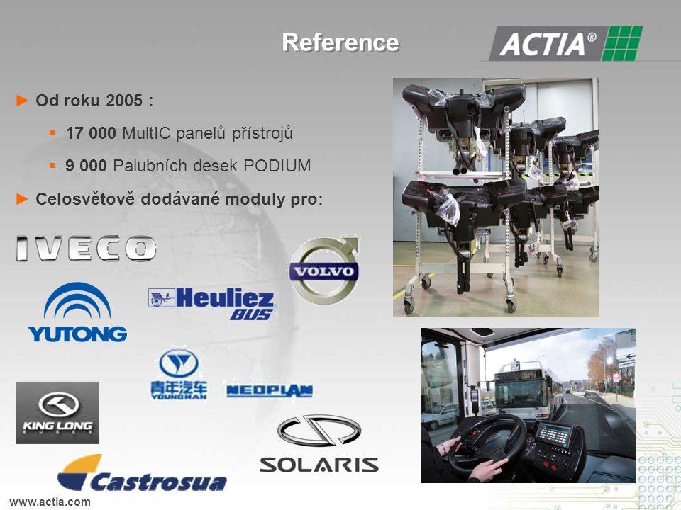 ► Od roku 2005 :  17 000 MultIC panelů přístrojů  9 000 Palubních desek PODIUM ► Celosvětově dodávané moduly pro: www.actia.com Reference