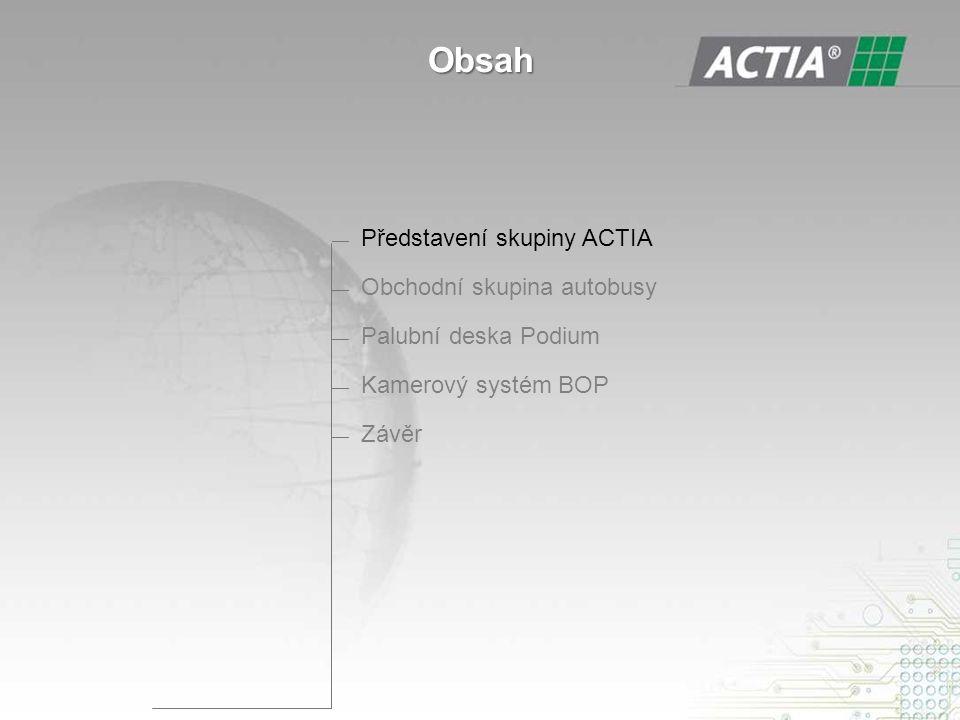 — Představení skupiny ACTIA — Obchodní skupina autobusy — Palubní deska Podium — Kamerový systém BOP — Závěr Obsah