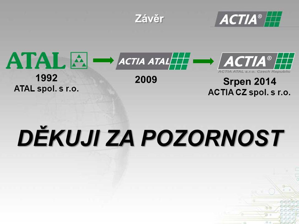 Závěr 1992 ATAL spol. s r.o. 2009 Srpen 2014 ACTIA CZ spol. s r.o. DĚKUJI ZA POZORNOST