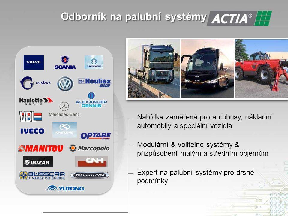 Odborník na palubní systémy Odborník na palubní systémy — Nabídka zaměřená pro autobusy, nákladní automobily a speciální vozidla — Modulární & volitelné systémy & přizpůsobení malým a středním objemům — Expert na palubní systémy pro drsné podmínky