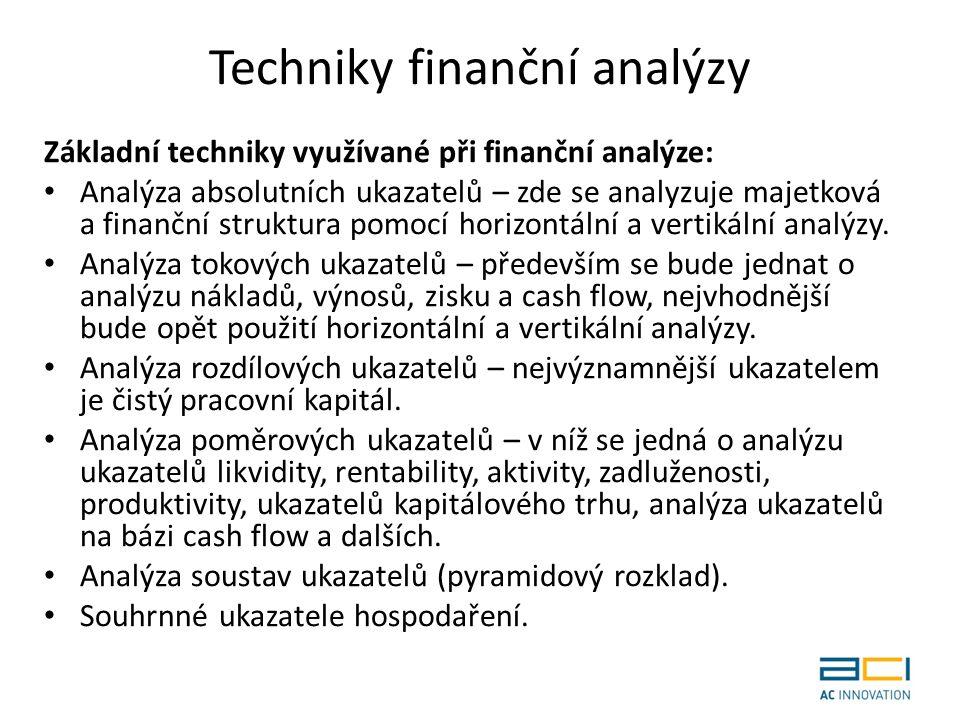 Techniky finanční analýzy Základní techniky využívané při finanční analýze: Analýza absolutních ukazatelů – zde se analyzuje majetková a finanční struktura pomocí horizontální a vertikální analýzy.