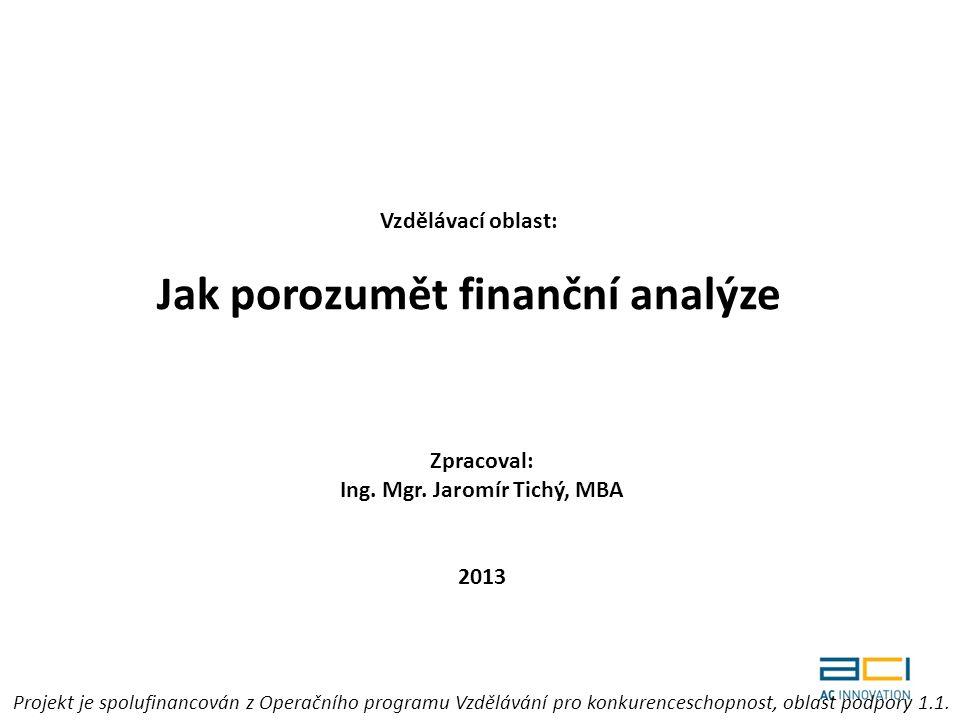 Vzdělávací oblast: Jak porozumět finanční analýze Zpracoval: Ing.