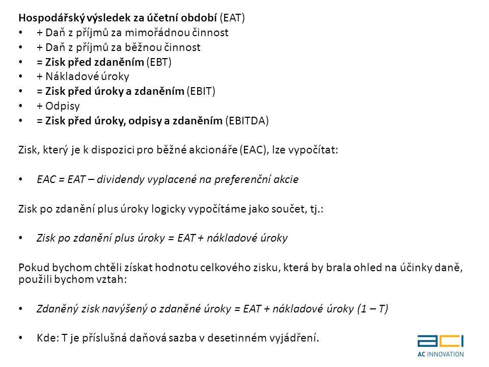 Hospodářský výsledek za účetní období (EAT) + Daň z příjmů za mimořádnou činnost + Daň z příjmů za běžnou činnost = Zisk před zdaněním (EBT) + Nákladové úroky = Zisk před úroky a zdaněním (EBIT) + Odpisy = Zisk před úroky, odpisy a zdaněním (EBITDA) Zisk, který je k dispozici pro běžné akcionáře (EAC), lze vypočítat: EAC = EAT – dividendy vyplacené na preferenční akcie Zisk po zdanění plus úroky logicky vypočítáme jako součet, tj.: Zisk po zdanění plus úroky = EAT + nákladové úroky Pokud bychom chtěli získat hodnotu celkového zisku, která by brala ohled na účinky daně, použili bychom vztah: Zdaněný zisk navýšený o zdaněné úroky = EAT + nákladové úroky (1 – T) Kde: T je příslušná daňová sazba v desetinném vyjádření.