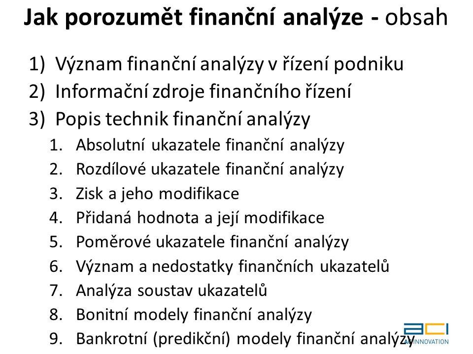 Jak porozumět finanční analýze - obsah 1)Význam finanční analýzy v řízení podniku 2)Informační zdroje finančního řízení 3)Popis technik finanční analýzy 1.Absolutní ukazatele finanční analýzy 2.Rozdílové ukazatele finanční analýzy 3.Zisk a jeho modifikace 4.Přidaná hodnota a její modifikace 5.Poměrové ukazatele finanční analýzy 6.Význam a nedostatky finančních ukazatelů 7.Analýza soustav ukazatelů 8.Bonitní modely finanční analýzy 9.Bankrotní (predikční) modely finanční analýzy