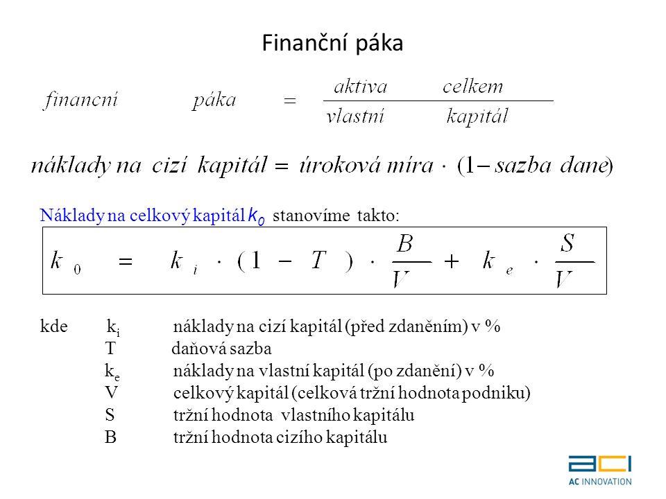 Finanční páka Náklady na celkový kapitál k 0 stanovíme takto: kde k i náklady na cizí kapitál (před zdaněním) v % T daňová sazba k e náklady na vlastní kapitál (po zdanění) v % V celkový kapitál (celková tržní hodnota podniku) S tržní hodnota vlastního kapitálu Btržní hodnota cizího kapitálu