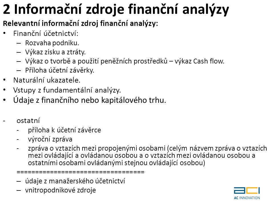 2 Informační zdroje finanční analýzy Relevantní informační zdroj finanční analýzy: Finanční účetnictví: – Rozvaha podniku.