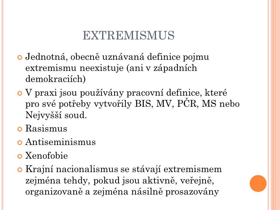 EXTREMISMUS Jednotná, obecně uznávaná definice pojmu extremismu neexistuje (ani v západních demokraciích) V praxi jsou používány pracovní definice, které pro své potřeby vytvořily BIS, MV, PČR, MS nebo Nejvyšší soud.