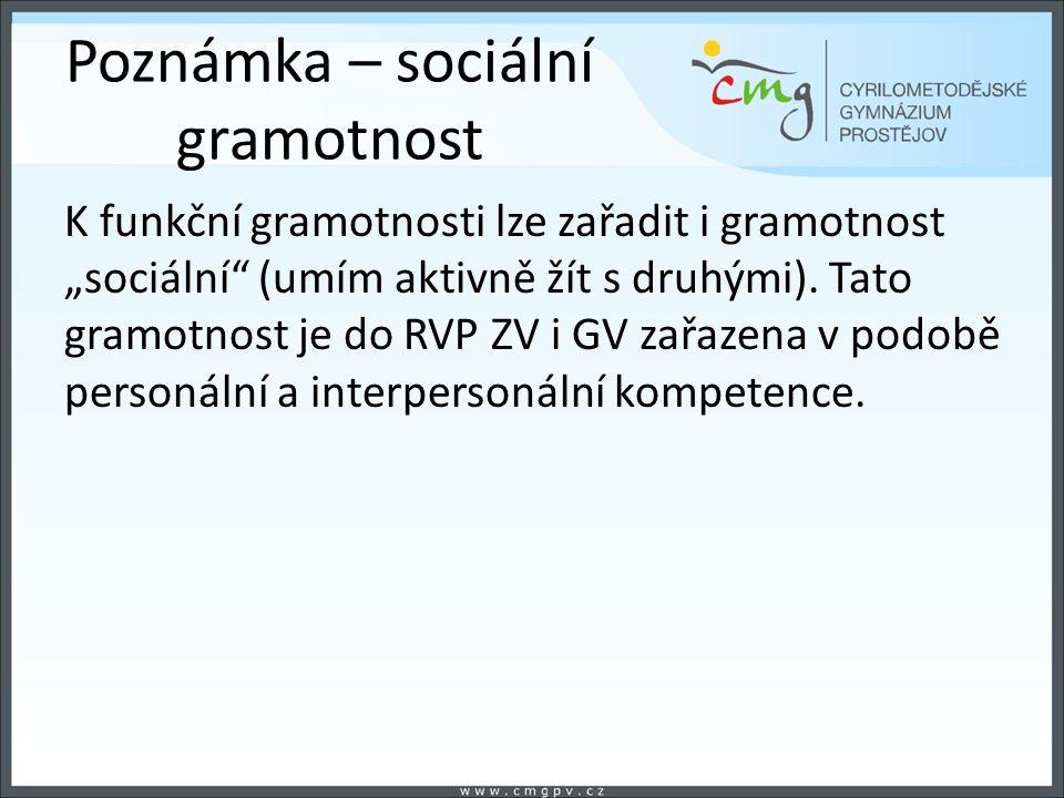 """Poznámka – sociální gramotnost K funkční gramotnosti lze zařadit i gramotnost """"sociální"""" (umím aktivně žít s druhými). Tato gramotnost je do RVP ZV i"""