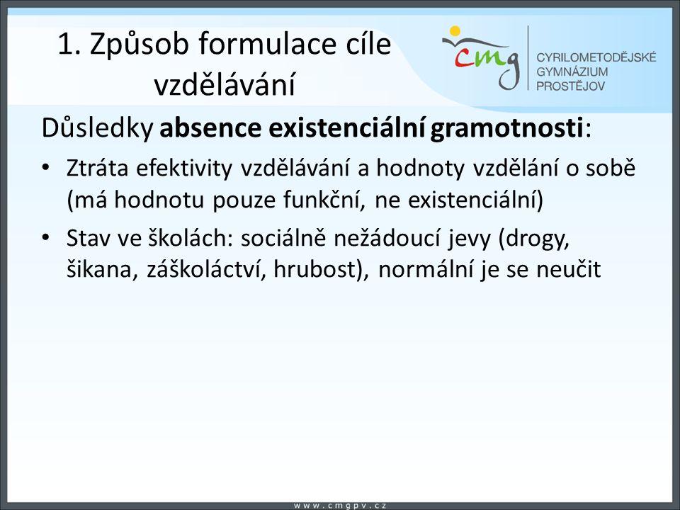 1. Způsob formulace cíle vzdělávání Důsledky absence existenciální gramotnosti: Ztráta efektivity vzdělávání a hodnoty vzdělání o sobě (má hodnotu pou