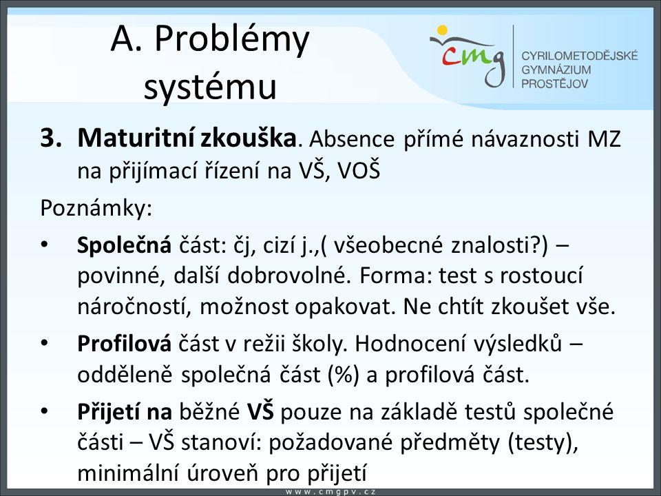 A. Problémy systému 3.Maturitní zkouška.