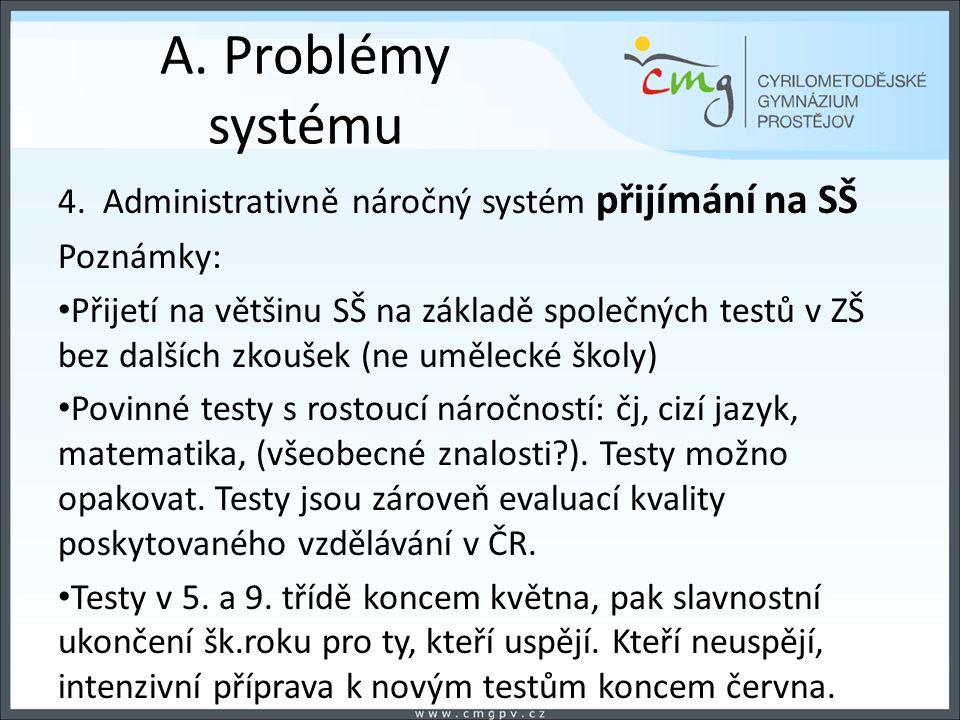 A. Problémy systému 4. Administrativně náročný systém přijímání na SŠ Poznámky: Přijetí na většinu SŠ na základě společných testů v ZŠ bez dalších zko