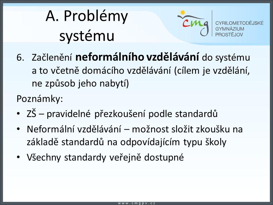 A. Problémy systému 6.Začlenění neformálního vzdělávání do systému a to včetně domácího vzdělávání (cílem je vzdělání, ne způsob jeho nabytí) Poznámky