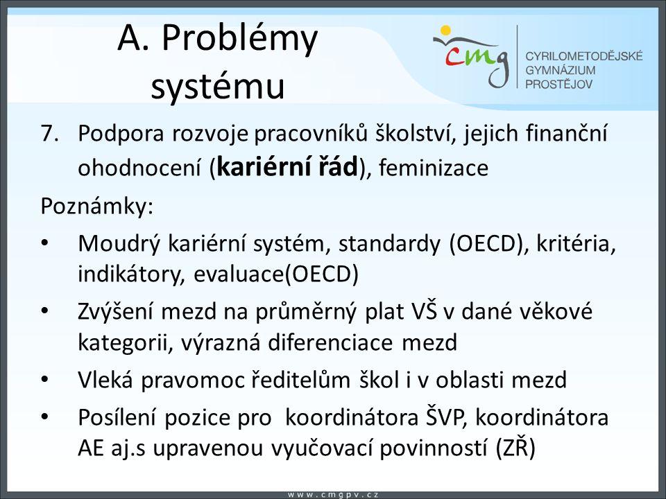 A. Problémy systému 7.Podpora rozvoje pracovníků školství, jejich finanční ohodnocení ( kariérní řád ), feminizace Poznámky: Moudrý kariérní systém, s