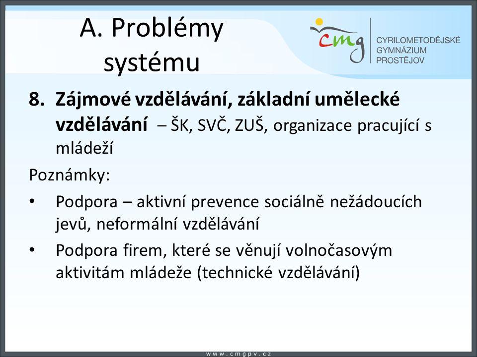 A. Problémy systému 8.Zájmové vzdělávání, základní umělecké vzdělávání – ŠK, SVČ, ZUŠ, organizace pracující s mládeží Poznámky: Podpora – aktivní prev