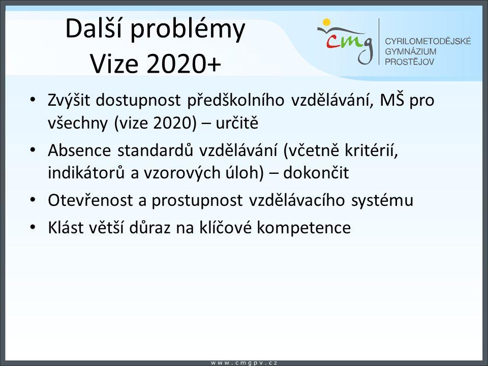 Další problémy Vize 2020+ Zvýšit dostupnost předškolního vzdělávání, MŠ pro všechny (vize 2020) – určitě Absence standardů vzdělávání (včetně kritérií, indikátorů a vzorových úloh) – dokončit Otevřenost a prostupnost vzdělávacího systému Klást větší důraz na klíčové kompetence