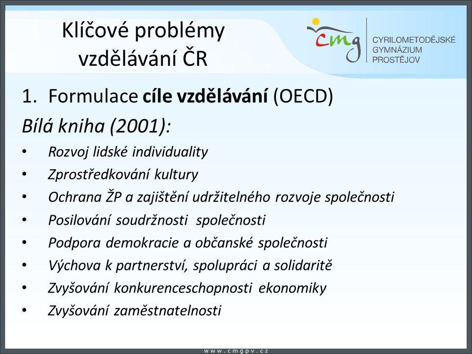 Klíčové problémy vzdělávání ČR 1.Formulace cíle vzdělávání (OECD) Bílá kniha (2001): Rozvoj lidské individuality Zprostředkování kultury Ochrana ŽP a