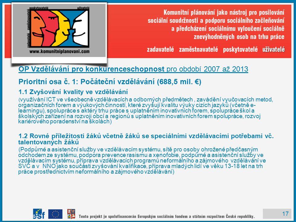 17 OP Vzdělávání pro konkurenceschopnost pro období 2007 až 2013 Prioritní osa č.