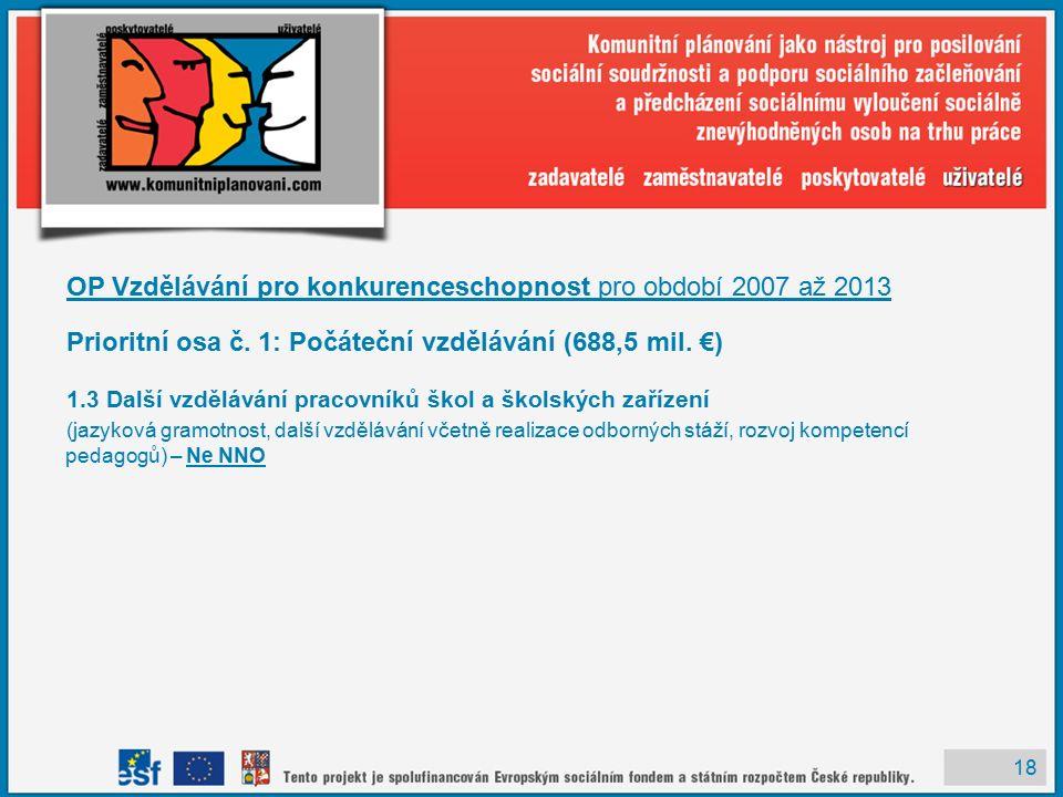 18 OP Vzdělávání pro konkurenceschopnost pro období 2007 až 2013 Prioritní osa č.