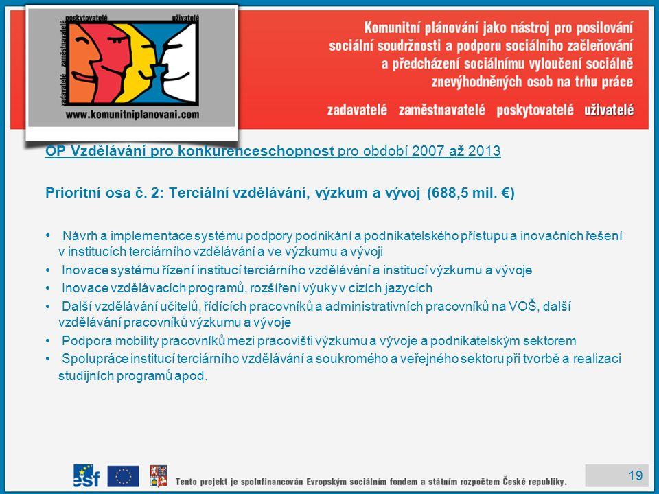19 OP Vzdělávání pro konkurenceschopnost pro období 2007 až 2013 Prioritní osa č.