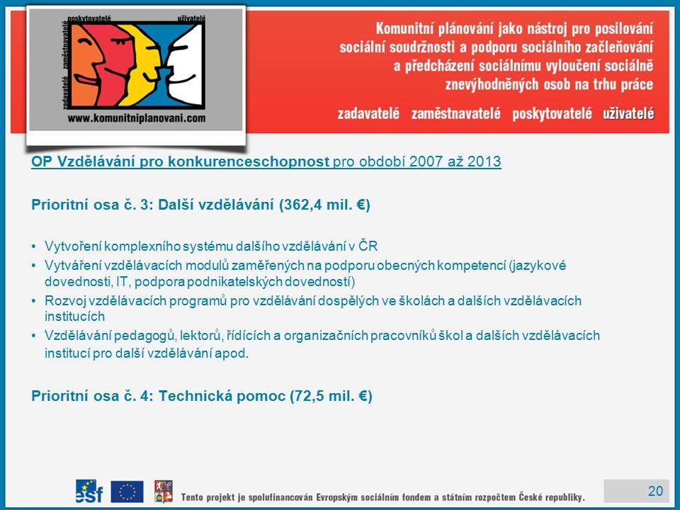 20 OP Vzdělávání pro konkurenceschopnost pro období 2007 až 2013 Prioritní osa č.