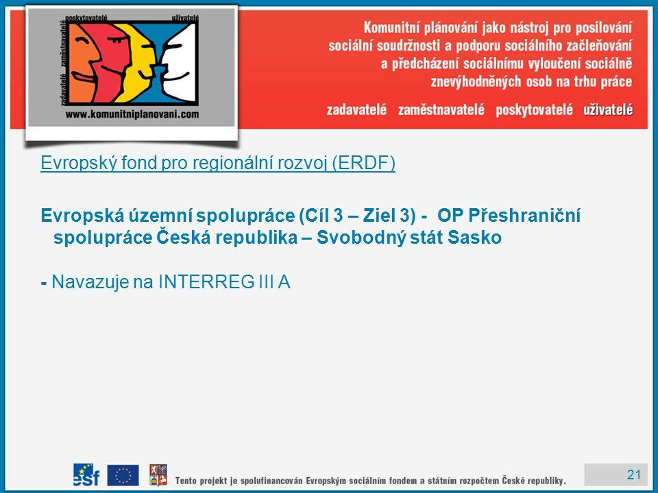 21 Evropský fond pro regionální rozvoj (ERDF) Evropská územní spolupráce (Cíl 3 – Ziel 3) - OP Přeshraniční spolupráce Česká republika – Svobodný stát Sasko - Navazuje na INTERREG III A